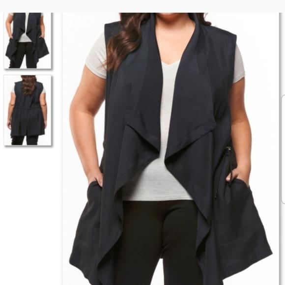 DeX black moda cotton vest pockets XS